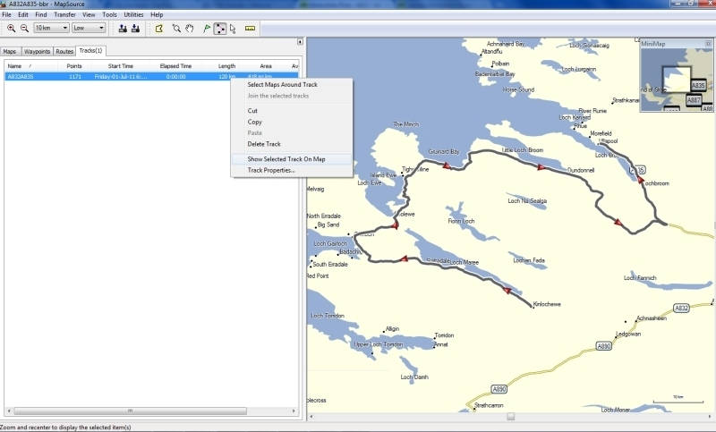 Using a track with Garmin Mapsource