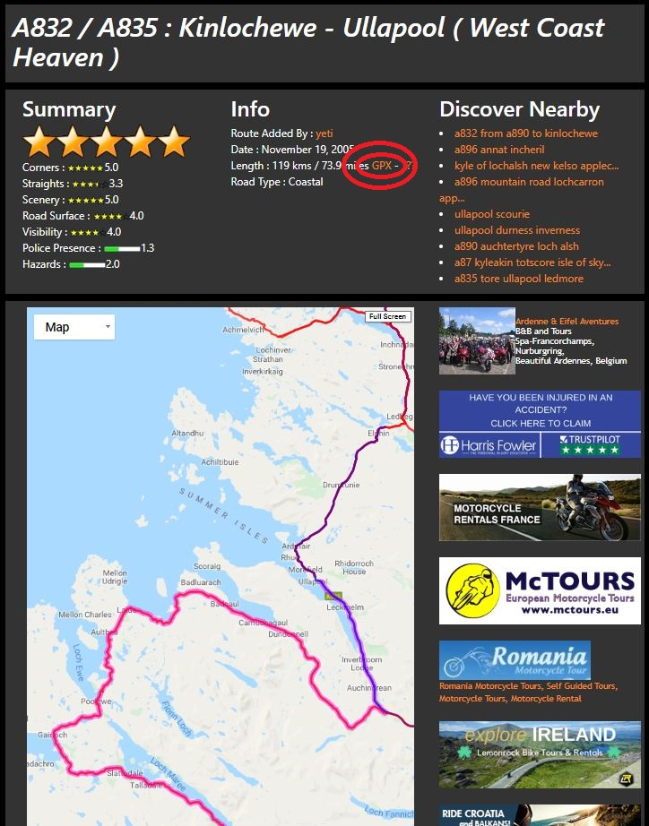 download motorcycle route as gpx file